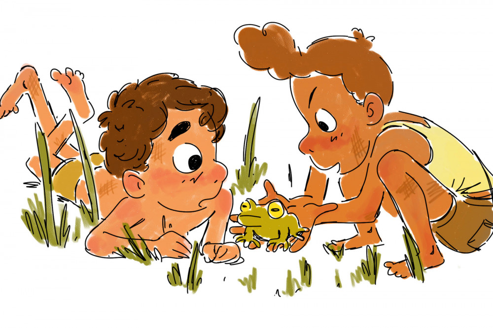 drawing of Luca and Alberto holding a frog